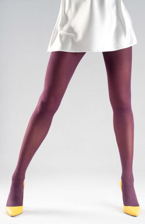 Švestkově fialové silonky silné barevné punčocháče