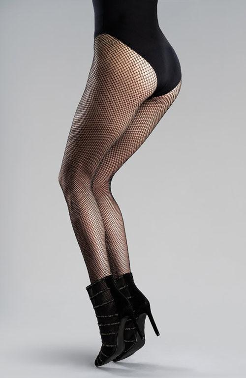 Toscana černé punčocháče kabaretky síťové punčochy s lurexem