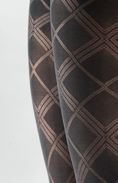 Geneva 60DEN černé vzorované punčocháče se skotským vzorem