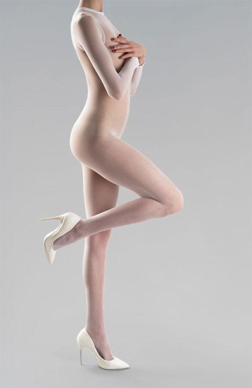 Erotické silonky na celé tělo catsuit s otevřeným rozkrokem 20DEN bílé Osaka