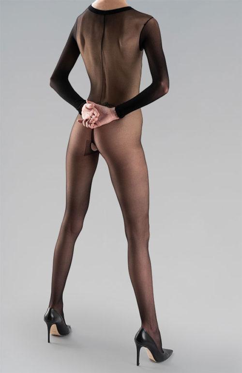 Erotické silonky na celé tělo catsuit s otevřeným rozkrokem 20DEN černé Osakaa celé tělo catsuit a otevřeným rozkrokem 20DEN černé Osaka