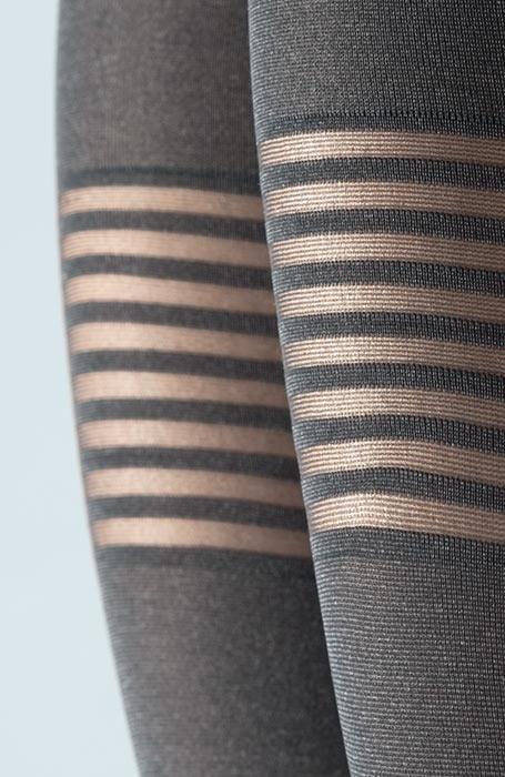 Vzorované punčocháče silonky podvazek hřejivé 60den šedé Venezia