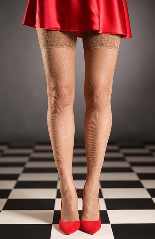 Tělové samodržící síťované punčochy kabaretky Cordoba s krajkovým lemem