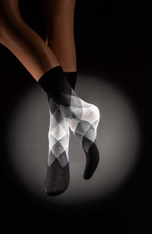 Veselé pánské ponožky Káro šedé