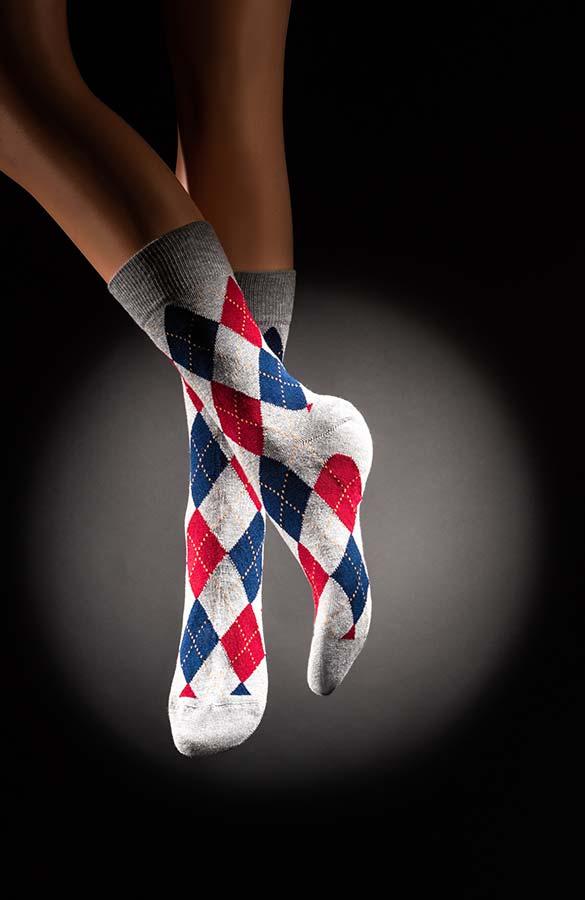 Veselé pánské ponožky Káro šedomodročervené