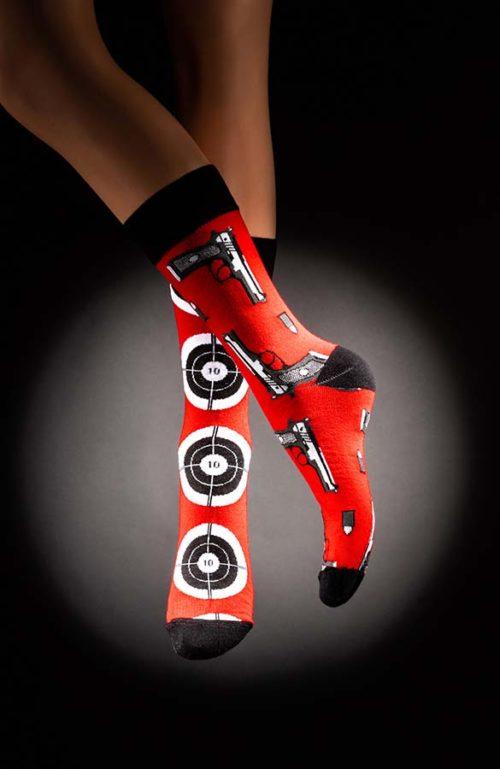 Veselé pánské ponožky pistole terč Hitman