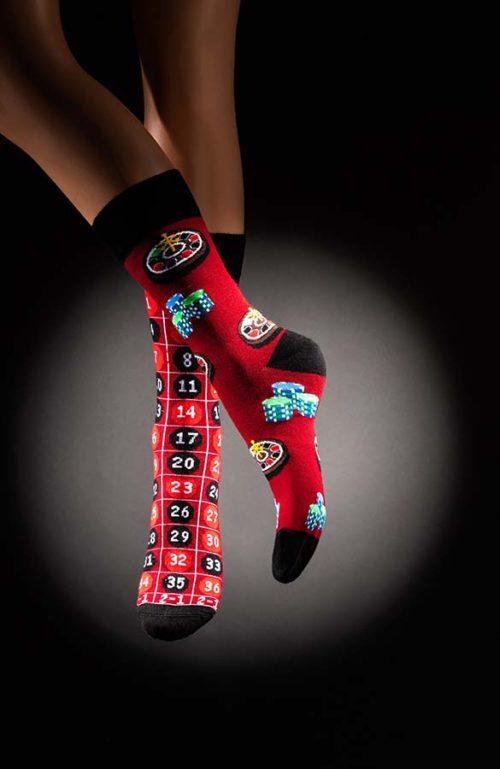 Veselé pánské ponožky ruleta Casino červenočerné
