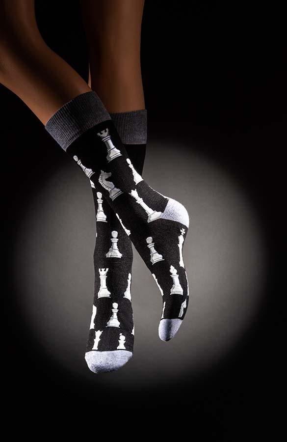 Veselé pánské ponožky šachy Kasparov černošedé