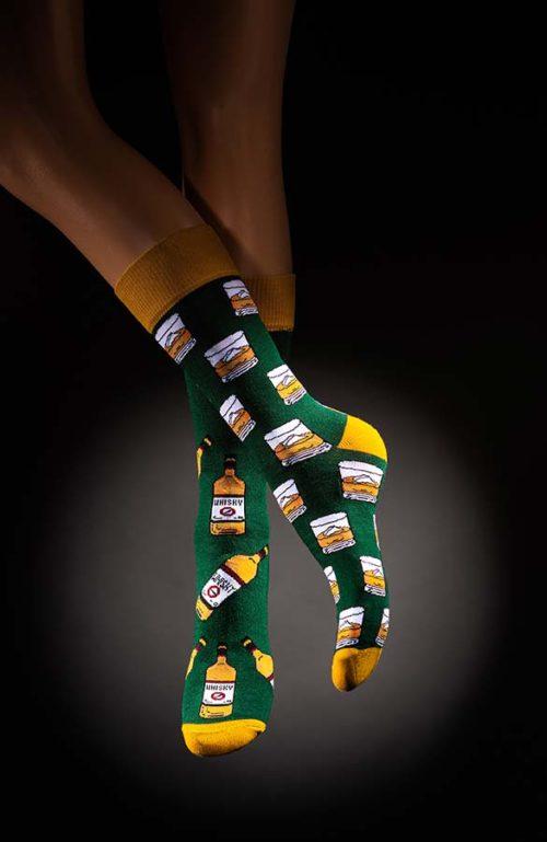 Veselé pánské ponožky whisky zelenožluté