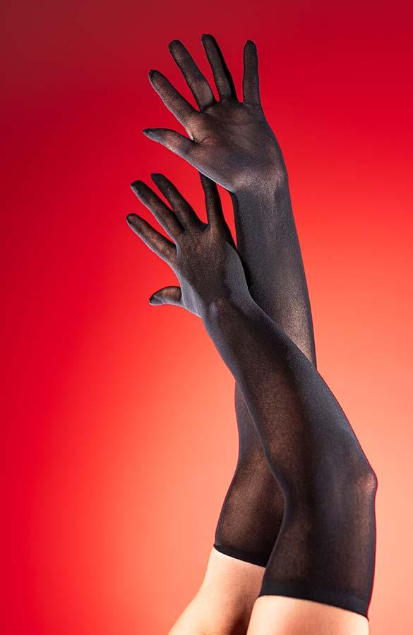 Silonkové dlouhé rukavice Manilla černé
