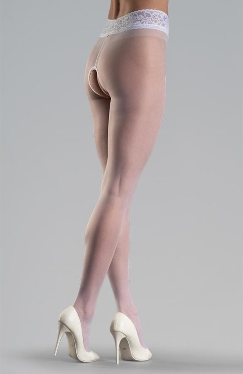 bílé erotické silonky s krajkovým pasem otevřený rozkrok Collanteria Sakura