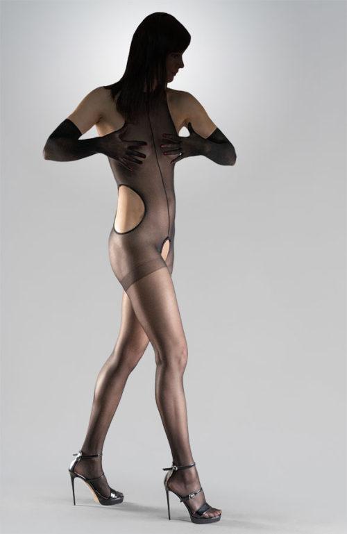 Černé erotické silonky bodystocking catsuit otevřený rozkrok Collanteria Manga