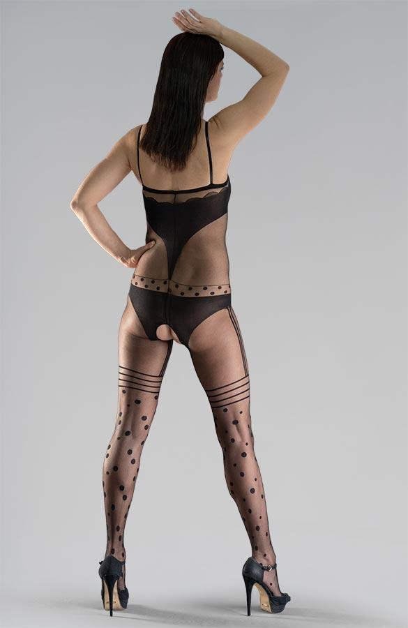 černé erotické silonky na celé tělo catsuit s černými podvazky imitace punčoch kalhotky puntíky otevřený rozkrok Collanteria Nikora
