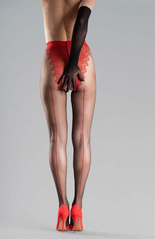 černé erotické silonky s červeným švem kalhotkami otevřený rozkrok Collanteria Tomioka