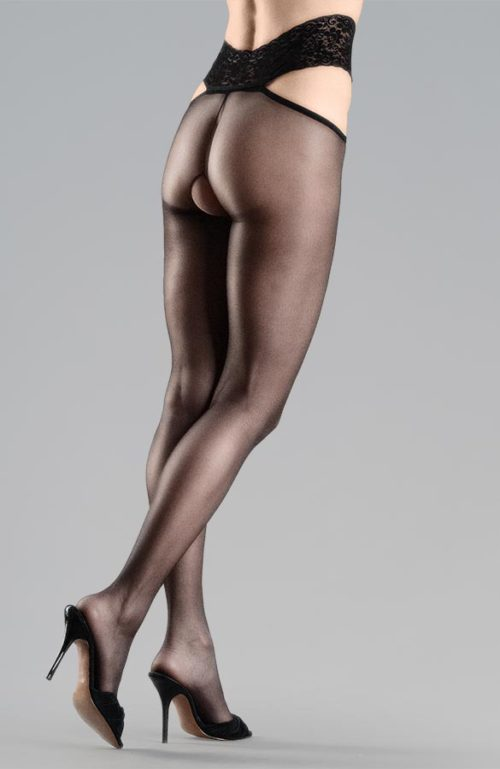 černé erotické silonky s krajkovým pasem otevřený rozkrok Collanteria Ginza