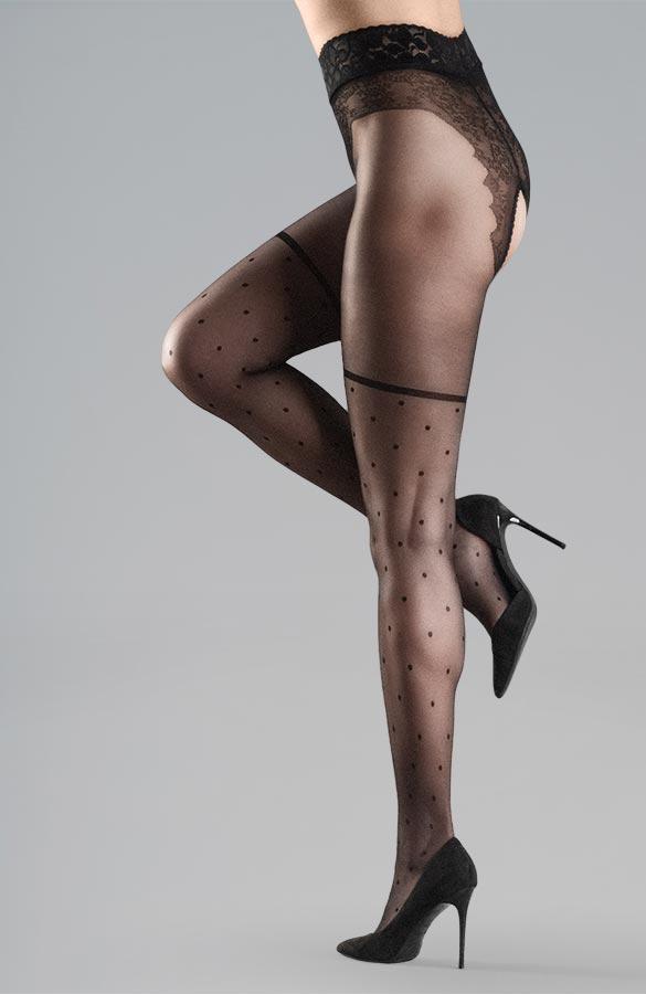 černé erotické silonky s puntíky krajkovým pasem kalhotkami otevřený rozkrok Collanteria Geisha