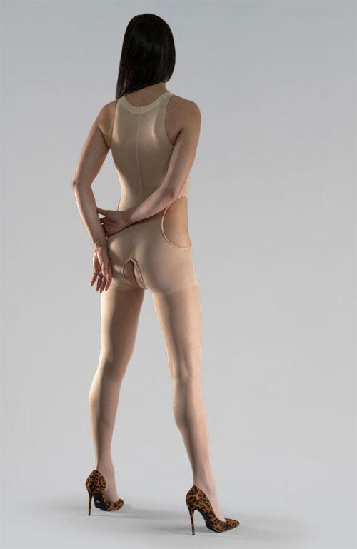 Tělové erotické silonky bodystocking catsuit otevřený rozkrok