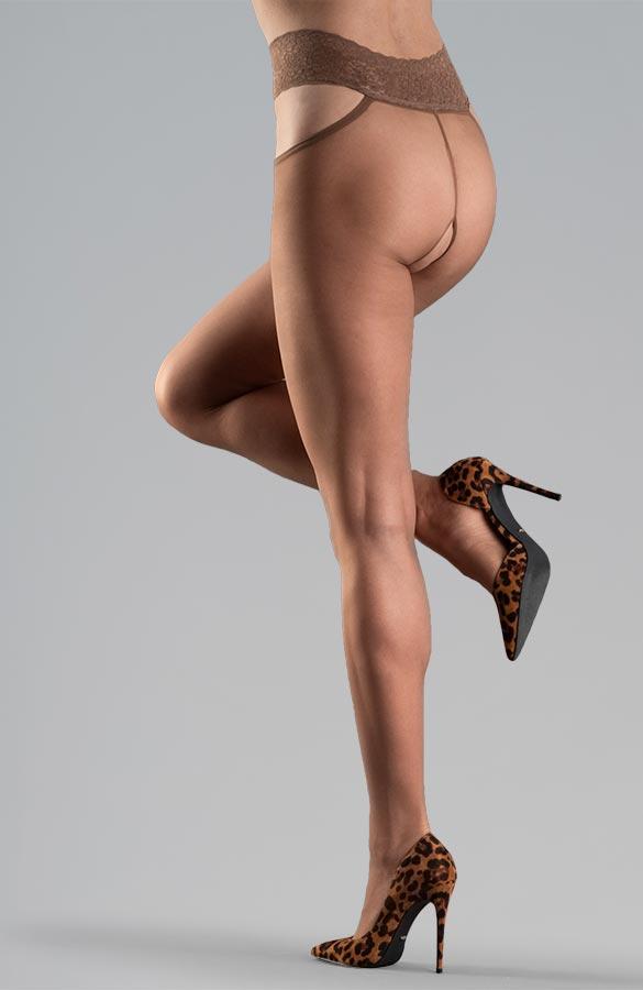 tělové erotické silonky s krajkovým pasem otevřený rozkrok Collanteria Ginza