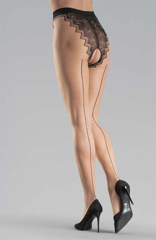 tělové erotické silonky s černým švem kalhotkami otevřený rozkrok Collanteria Tomioka